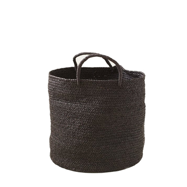 Braided Raffia Basket - Black, Medium