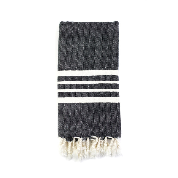 Natural Striped Hand Towel - Charcoal