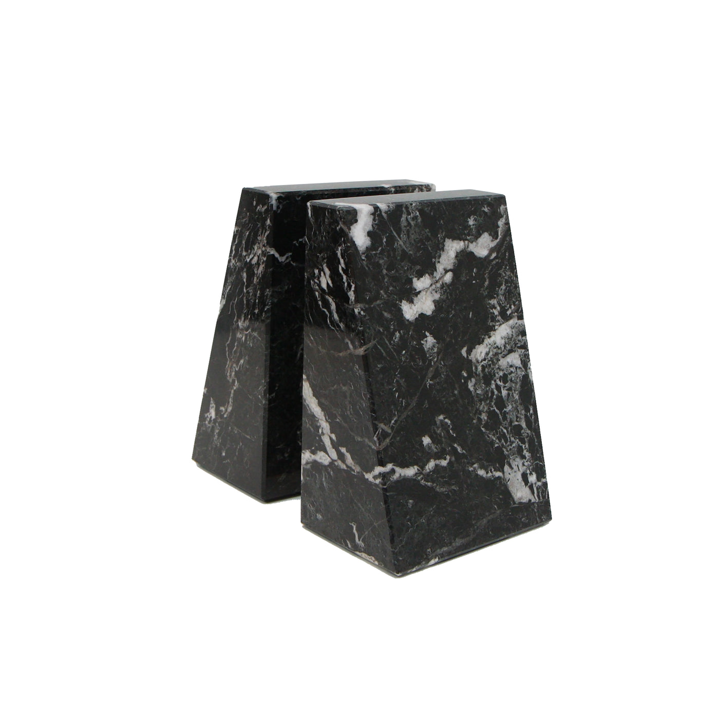 Zeus Bookends - Black Zebra Marble