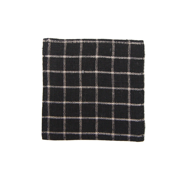 Linen Coaster - Black Plaid