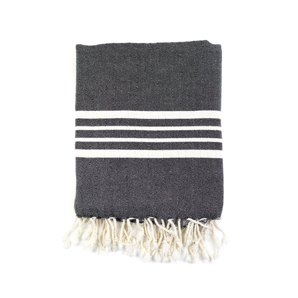 Natural Striped Bath Towel - Charcoal