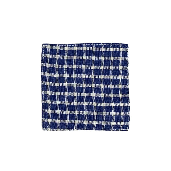 Linen Coaster - Blue Plaid