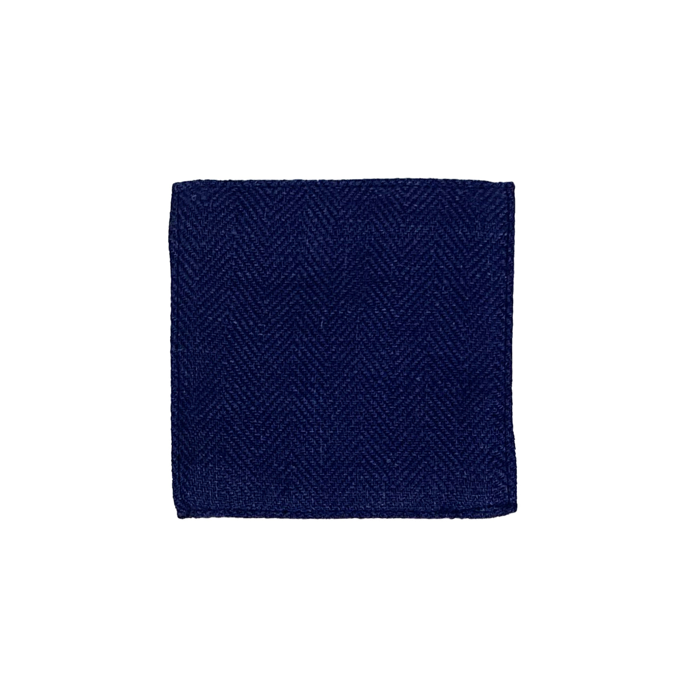 Linen Coaster - Blue Herringbone