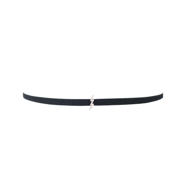 Suede Choker with Lightning Bolt