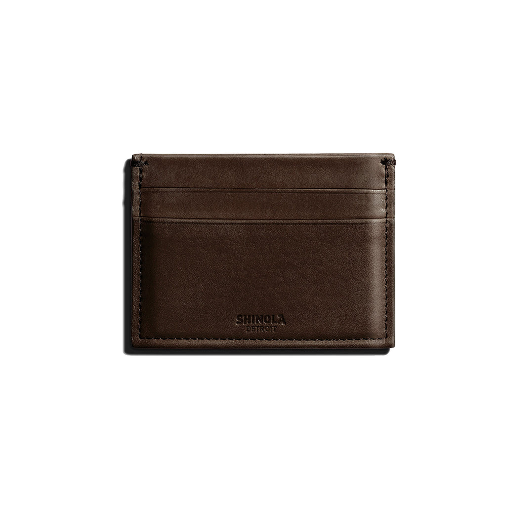 Shinola Deep Brown Leather 5 Pocket Card Case Wallet
