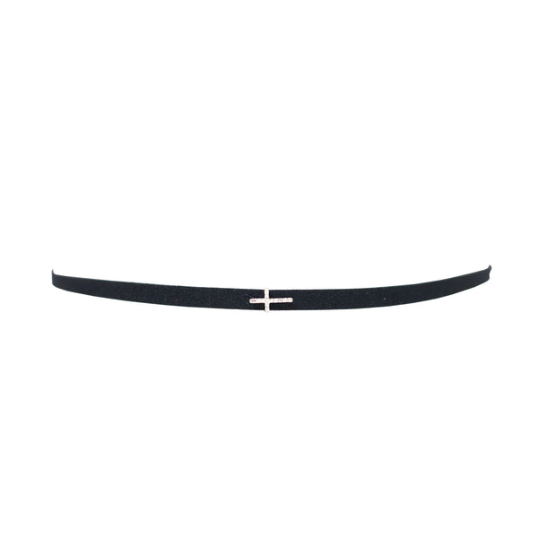 Suede Choker with Cross