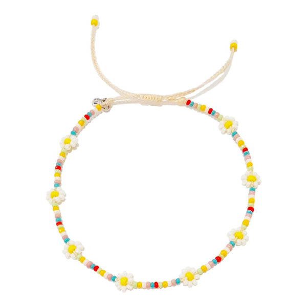 Multi-Colored Daisy Beaded Bracelet