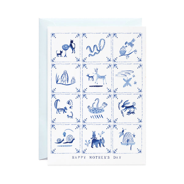 Mother's Day Delft Tiles Card