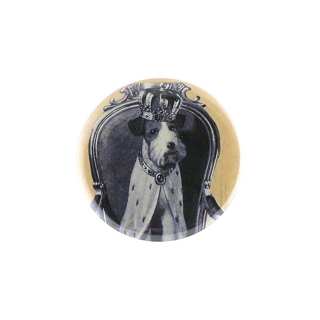 Crowned Dog Mirror Button