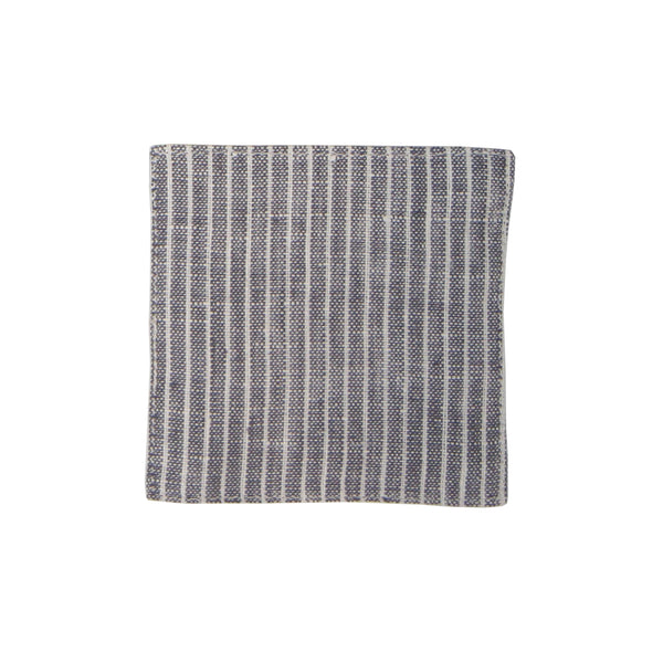 Linen Coaster - Grey & White Pinstripe