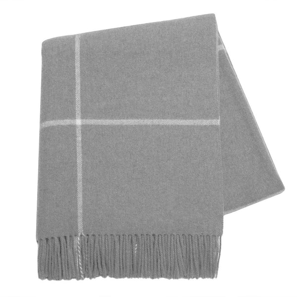 Cashmere Throw - Gray Windowpane