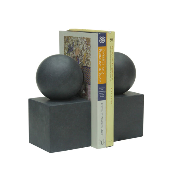 Ball & Cube Bookends - Jet Black
