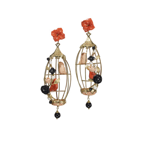 Lovebirds Earrings - Coral & Black Onyx