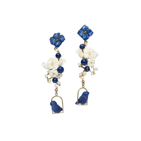 Nester Earrings - Lapis & Tagua