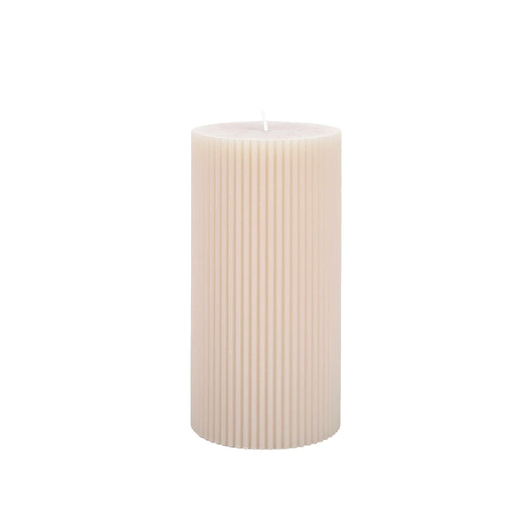 Fancy Pillar Candle - Parchment