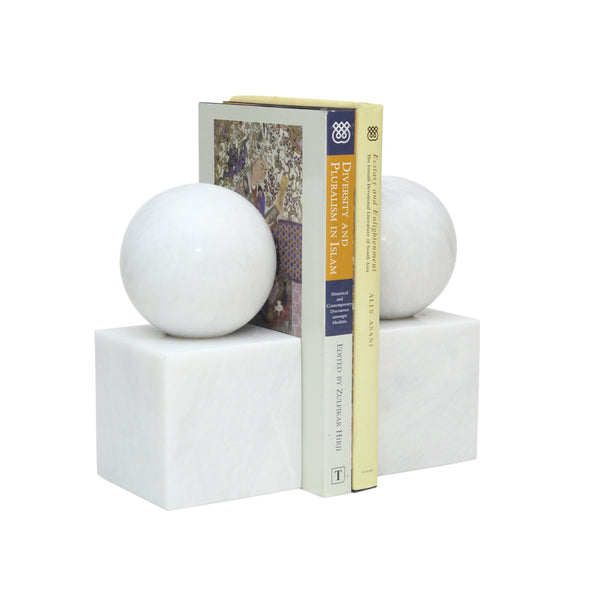 Ball & Cube Bookends - Pearl