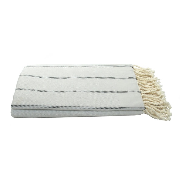 Grey Fouta Herringbone Vertical Striped Towel