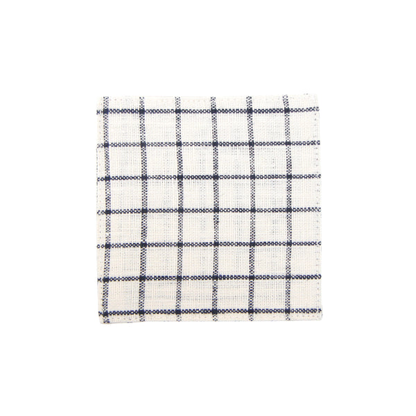 Linen Coaster - White Plaid