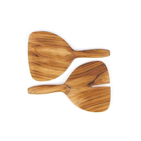 Teak Wide Salad Server Set