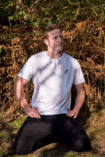 Open V-neck Men's T-shirt White