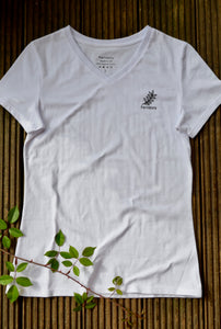 Women's Fernstory  V Neck T-Shirt White