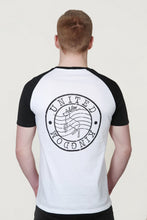 Load image into Gallery viewer, Men's Raglan Sleeve T-Shirt with Red Deer Post Stamp Design White