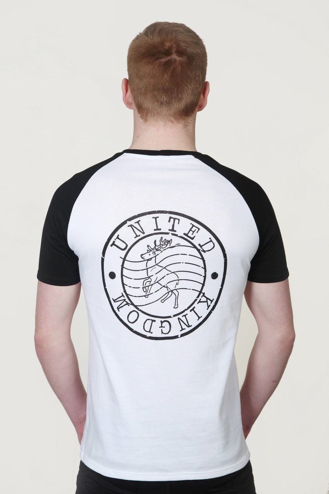 Men's Raglan Sleeve T-Shirt with Red Deer Post Stamp Design White