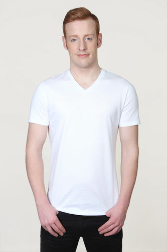 Men's Organic V Neck T-Shirts White