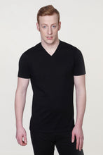 Load image into Gallery viewer, Men's Organic V Neck T-Shirt Black