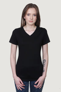 Organic V Neck T-Shirt Black