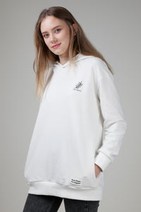 Women's Fernstory Logo Organic Hoodie with Pockets White Nature