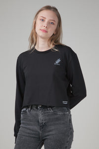 Organic Cropped Sweatshirt Black