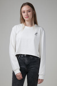 Organic Cropped Sweatshirt White Natural