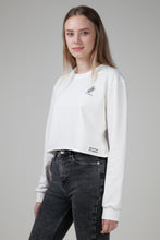 Load image into Gallery viewer, Organic Cropped Sweatshirt White Natural