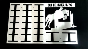 Personalized Horse Rosette Hangers in a Stainless steel brush finish