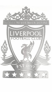 Liverpool Football Club Crest Mounted Wall Art Design (Stainless steel brush finish or in red or black)