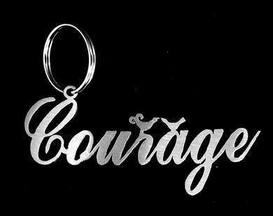 Courage with Birds Key Ring Stainless steel brush finish