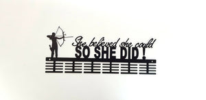 Archery She believed she could 48 tier medal hanger (option of colors available)