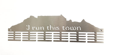 Table Mountain I Run This Town medal hanger 48 tier Stainless steel brush finish