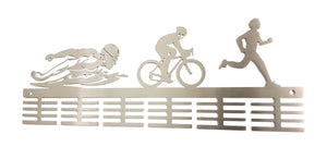 Man Swim Bike Run Triathlon 48 tier medal hanger (option of colors available)