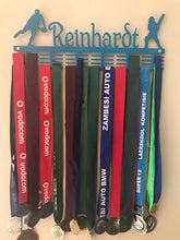 Load image into Gallery viewer, Personalised 48 tier medal hanger with name and up to 4 figurines