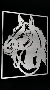 Horse Portrait Mounted Wall Art Stainless steel brush finish