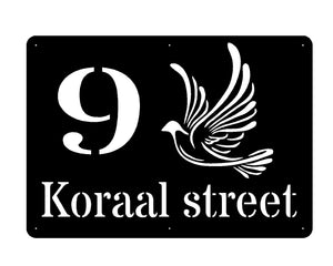 Pigeon Street name & number design sign 15