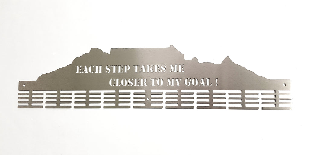 Table mountain 3 options of Motivational sayings 72 tier medal hanger Stainless steel brush finish