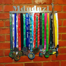 Load image into Gallery viewer, Personalised 72 tier medal hanger with name and up to 4 figurines