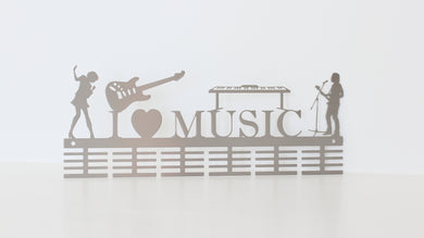 Boy & Girl I Love Music Instruments 48 tier medal hanger (option of colors available)