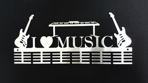 I Love Music Instruments 48 tier medal hanger (option of colors available)