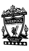 Load image into Gallery viewer, Liverpool Football Club Crest Mounted Wall Art Design (Stainless steel brush finish or in red or black)