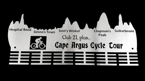 Cape Argus Cycle Tour, Club 21 plus.. 48 tier medal hanger Stainless steel brush finish