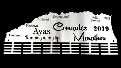 Comrades Marathon Personalised 48 tier medal hanger Stainless steel brush finish